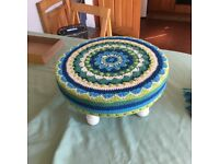 Upcycled Crochet Mandala Footstool Stool