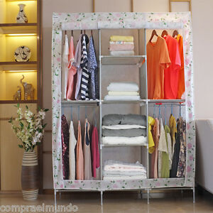 Finether Wardrobe Floral Print Double Modular Metal Framed Canvas Shelves Fabric