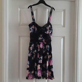Black Dress size 8 Petite with floral/flower print.