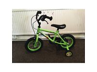 "Boys 12"" bike (green) with stableizers"