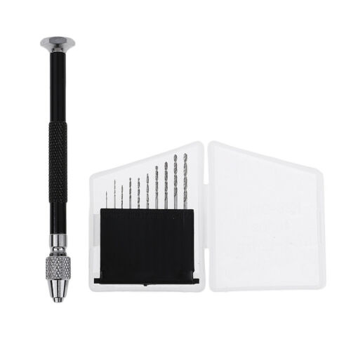 Black Mini Pin Vise Hand Drill with 10 Twist Drill Bits for
