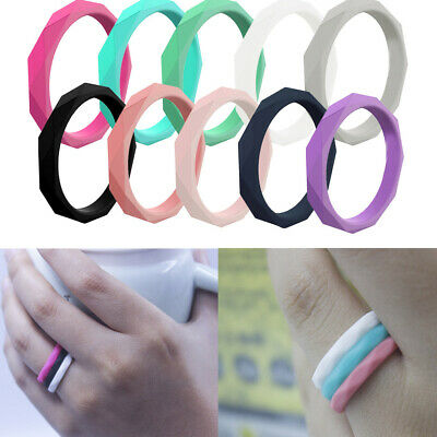 10 PACKS Set Women Silicone Ring Rubber Wedding Band Stackable Twist Size 5-9 US