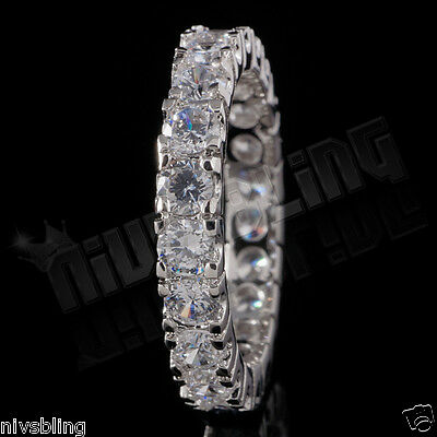 - 18K White Gold Lab Diamond Wedding Engagement Band Eternity Women Promise Ring