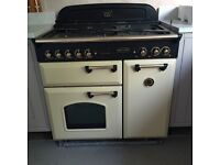 Excellent condition dual fuel Rangemaster Classic 90 cream and brass