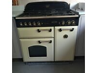 Excellent condition gas Rangemaster Classic 90 cream and brass