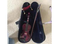 Quarter size purple violin with music stand