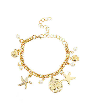 Seashell Pearl Bracelet (Lux Accessories Gold Tone Starfish Seashell Pearl Nautical Charm)