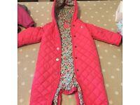 Joules pink girls snowsuit/pramsuit age 9-12months