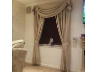Stunning bespoke cream interlined real silk curtains with swags
