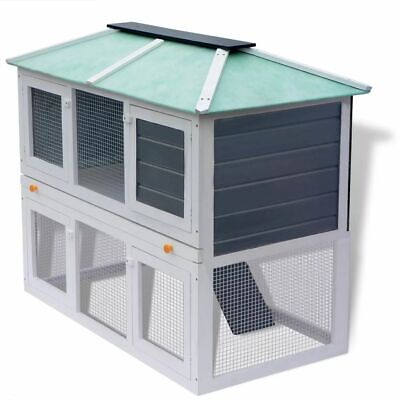 Rabbit Hutch Small Animal Hutches Wood Run Outdoor Runs 2 Tier Double Floor Cage for sale  Rancho Cucamonga