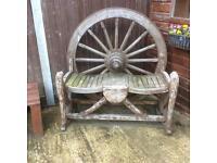 Solid oak wagon wheel garden bench/seat