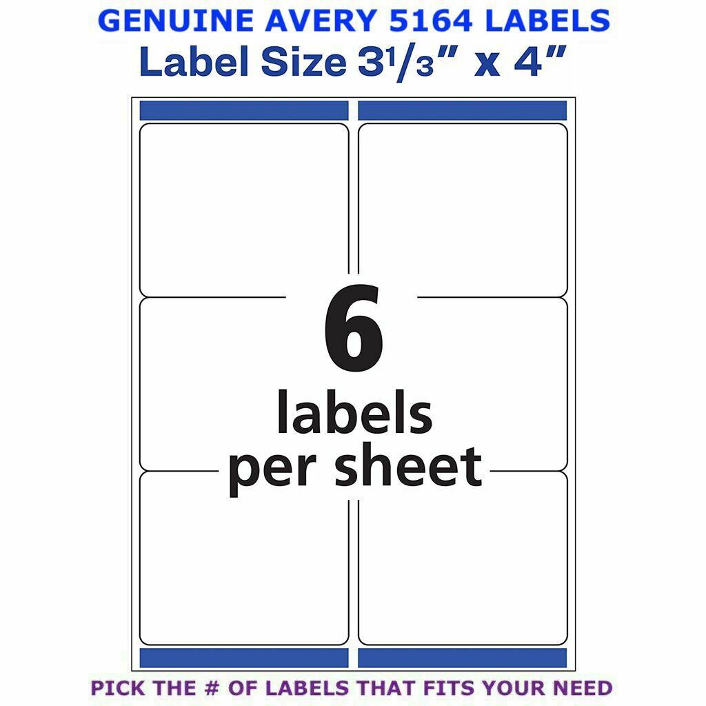 "Avery TrueBlock Laser Shipping Label 3 1/3"" x 4""  PICK YOUR"