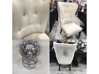 Stunning cream chairs with lion knocker on back