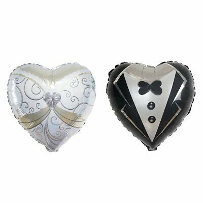 Bride And Groom Balloons (4 pcs Heart Shaped Wedding Groom Tuxedo and Bride Dress 14