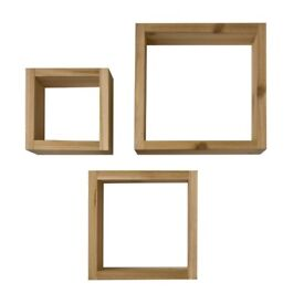 Set of three cube shelves
