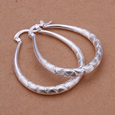 925 Sterling Silver Hoop Pierced Earrings L4