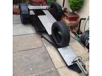 Single motorbike crosser quad trailer ready to go