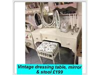 Vintage dressing table , 3 way French style mirror & stool