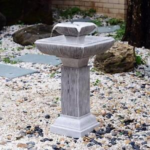Outdoor Patio 2-tire Water Fountain Yard with LED Light Bird Bath / 2-tier Water Fountain Feature Cascade Classical LED