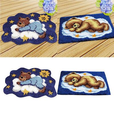 (2 Sets Bear Latch Hook Rug Kits DIY Pillow Mat Rug Making for Kids Adults)