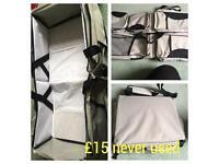 Travel cot turn nappy change bag