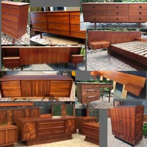 REFINISHED Mid Century Modern Teak Rosewood Walnut Dressers Bedroom Set Headboard w nightstands Wardrobe Desk Vanity
