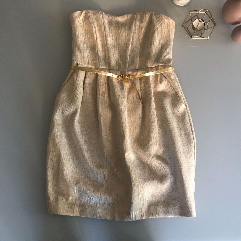 h&m kleid in gold mit gürtel mini schulterfrei gr. 36 s