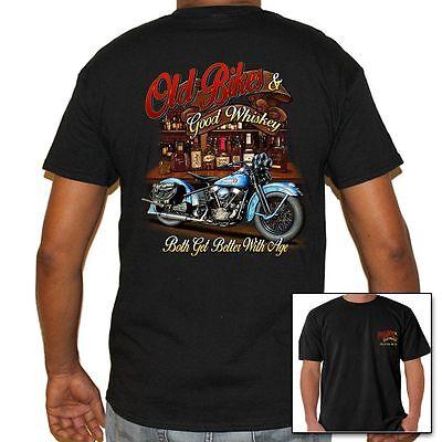 Mens Biker Shirt - Old Bikes & Good Whiskey.. Better W/ Age, Motorcycle (Best Biker T Shirts)