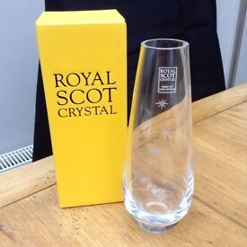 New in box Royal Scot crystal vase 8 ins in height