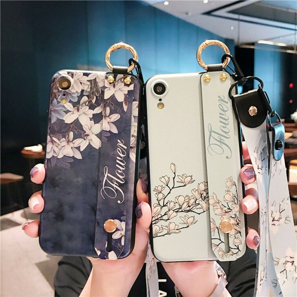 For iPhone XR Xs Max 6 7 8 Plus Girls Women Floral Handle Ca