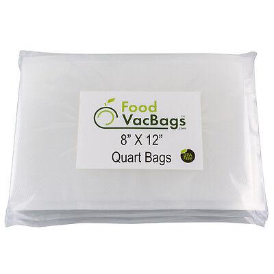 100 Quart 8x12 FoodVacBags 4mil Embossed Vacuum Sealer Bags for FoodSaver