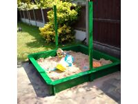 Large Wooden Sandbox with roof 145cmx145 including sand &toys&shapes