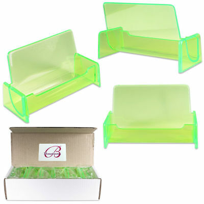 12pcs Clear Green Acrylic Office Business Name Card Holder Display Stand Desktop