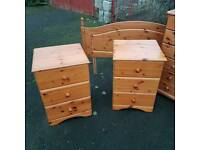 Antique Pine Bedside drawers & Headboard