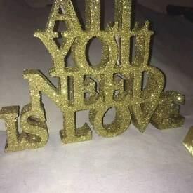 Gold Glitter All You Need Is Love standing sign