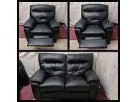 Black leather 2/1/1 seater sofas