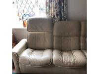 3 Seater Stressless cream leather recliner and adjustable headrests sofa, one armchair