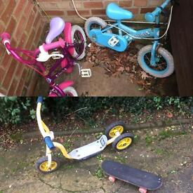 2xbikes scooter and mini skate board
