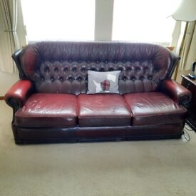 leather Chesterfield 3 seat sofa