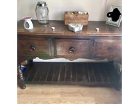 Dark wood dressing table. 3 draws