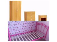 Light Oak Bedroom Trio Set + Single Bed Frame - Free Delivery In Southampton Area