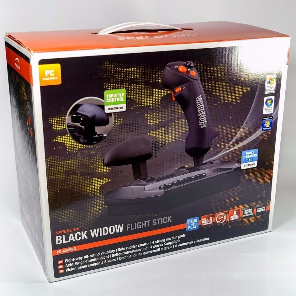 Speedlink Black Widow Flight Stick Flightstick / Joystick with Throttle Control USB NEW | in ...