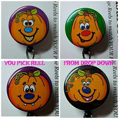 Halloween Pumpkin Face Designs (HALLOWEEN FUNNY FACE PUMPKIN ~ Retractable Reel ID Badge Holder U Pick)