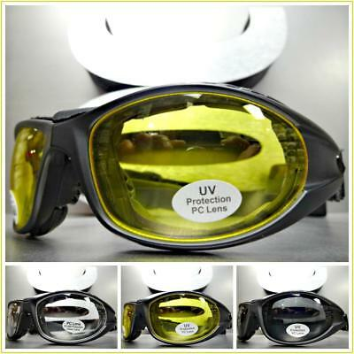 Men's MOTORCYCLE BIKER Padded RIDING SUN GLASSES GOGGLES Black Frame with (Sunglass Straps For Men)