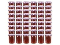 Glass Jam Jars with White and Purple Lid 48 pcs 400 ml-50816