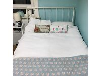 Metal Sleigh Double Bed painted white