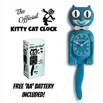 "SCUBA BLUE KITTY CAT CLOCK (3/4 Size) 12.75"" Free Battery MADE IN USA Kit Kat"