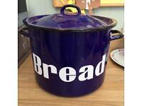 Blue Enamel bread bin
