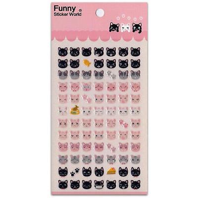 CUTE CAT FACE STICKERS Glitter Epoxy Sticker Sheet Craft Scrapbook Animal NEW (Animal Faces)