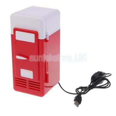 5V Mini Fridge Portable Heat Cool Can Beverage USB Refrigerator LED Red New
